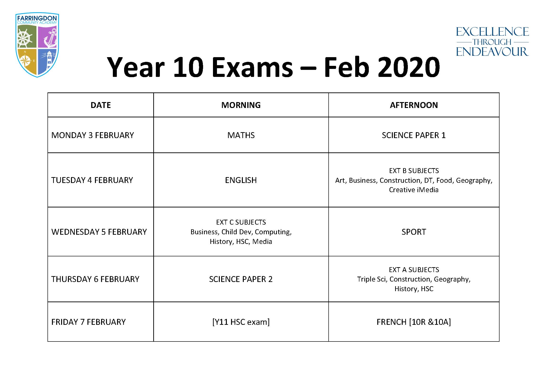 Year 10 exams Feb20